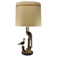 Bronze Peacock Table Lamp Marbro Lamp Co. Ebonized Base