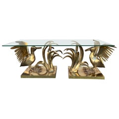 Bronze Pelican and Reed Coffee Table by Christian Techoueyres, France, 1970s