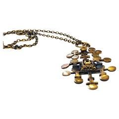 Bronze Pendant Necklace 'Leaf' by Pentti Sarpaneeva, Finland, 1970s