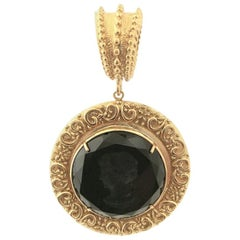 Bronze Pendant with a Black engraved Murano Glass insert
