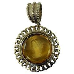 Bronze Pendant with an Engraved Murano Glass insert by Patrizia Daliana