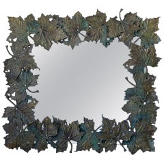 Bronze Plane-Tree Leaf Mirror, France, circa 1950s