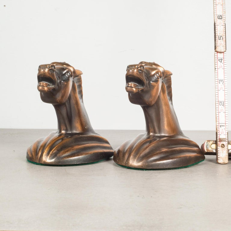 Bronze Plated Art Deco Horse Head Bookends c.1930 2