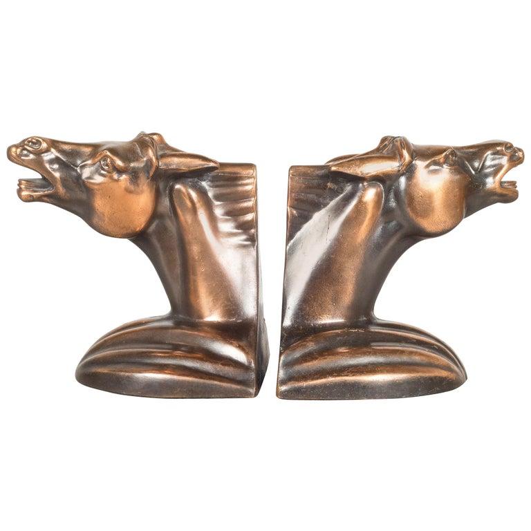Bronze Plated Art Deco Horse Head Bookends c.1930
