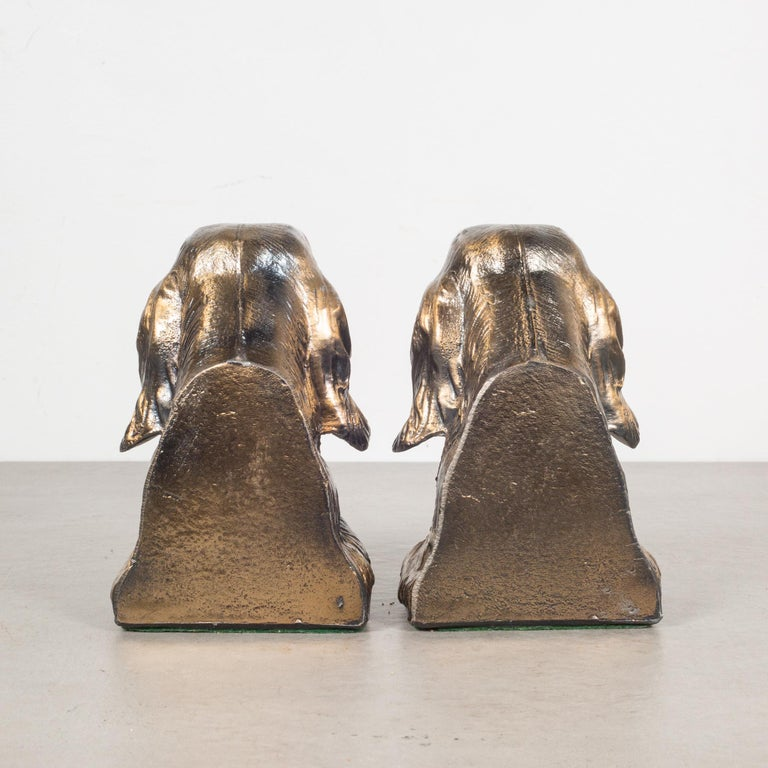 20th Century Bronze-Plated Dog Bookends, circa 1940