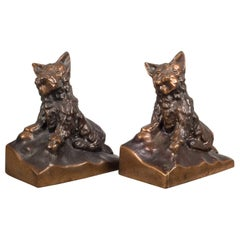 Bronze-Plated Scotty Dog Bookends, circa 1940