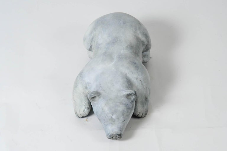 French Bronze Polar Bear Signed For Sale