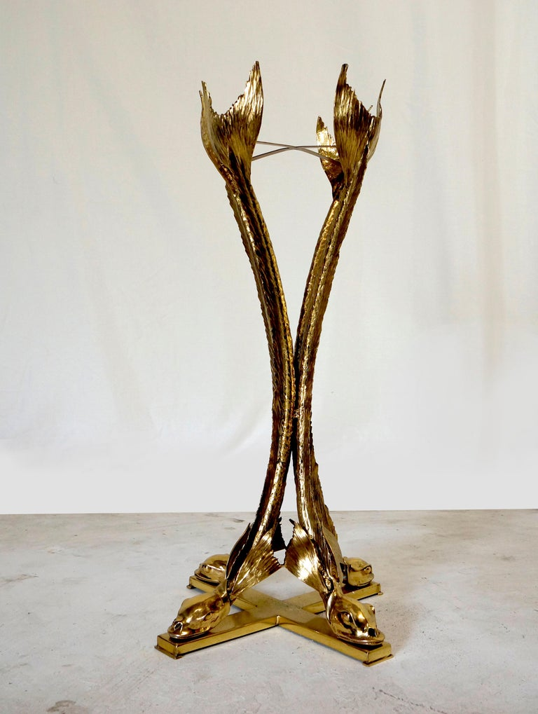 French Bronze & Polished Brass Sculptural Planter by Jacques Duval Brasseur, circa 1970 For Sale