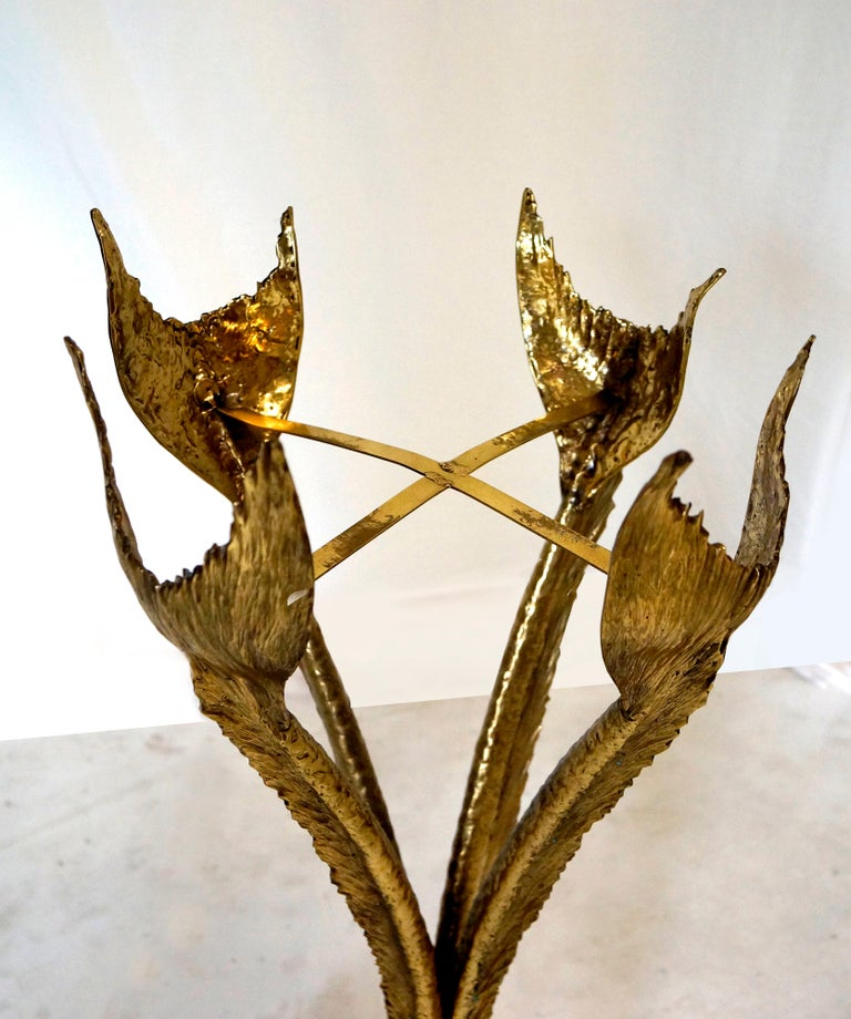 Bronze & Polished Brass Sculptural Planter by Jacques Duval Brasseur, circa 1970 In Excellent Condition For Sale In Miami, FL