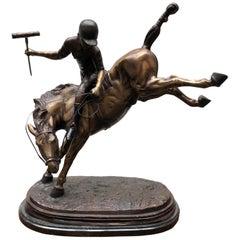 Bronze Polo Player Statue, Horse Jockey Casting, 20th Century