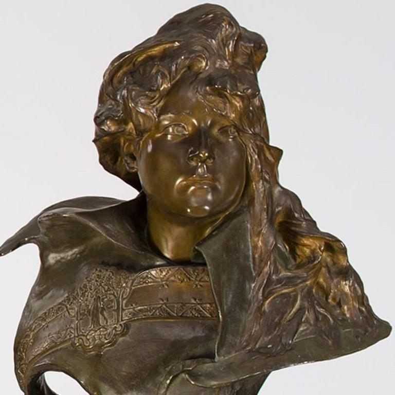 Art Nouveau Paul-François Berthoud Bronze Portrait of Sarah Bernhardt  For Sale