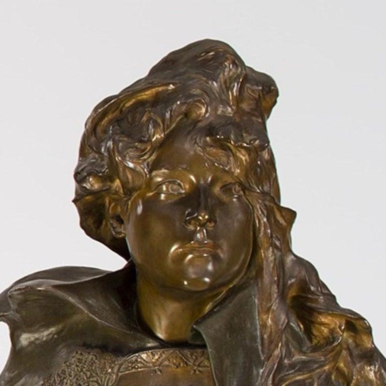 French Paul-François Berthoud Bronze Portrait of Sarah Bernhardt  For Sale
