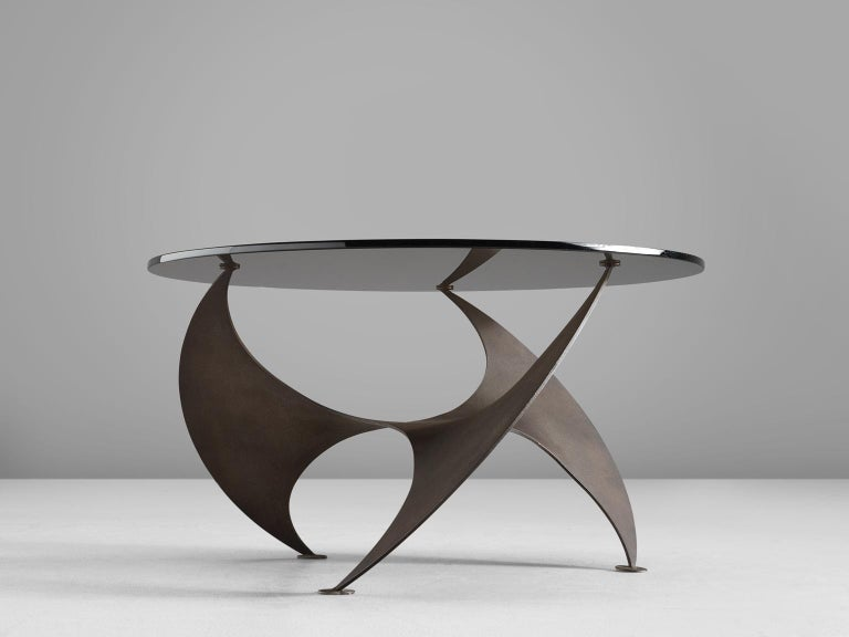 Post-Modern Bronze 'Propellor' Corner Table by Knut Hesterberg For Sale