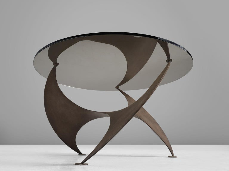 German Bronze 'Propellor' Corner Table by Knut Hesterberg For Sale