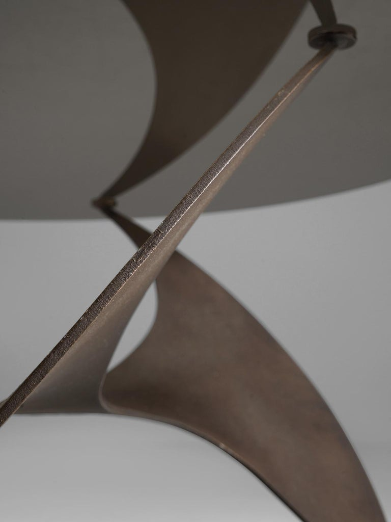 Bronze 'Propellor' Corner Table by Knut Hesterberg In Good Condition For Sale In Waalwijk, NL