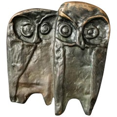 Bronze Push or Pull Door Handle with Owl Design, 20th Century, European