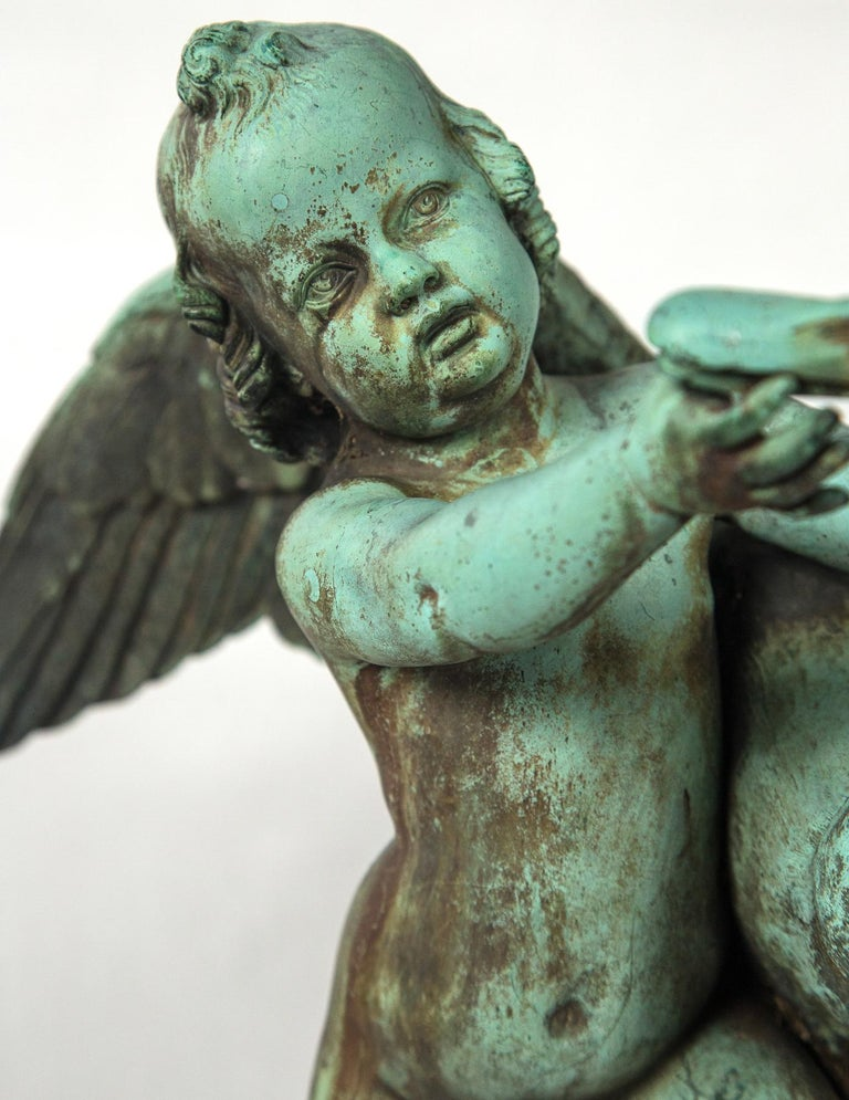 Bronze Putto  with a Swan Signed 3