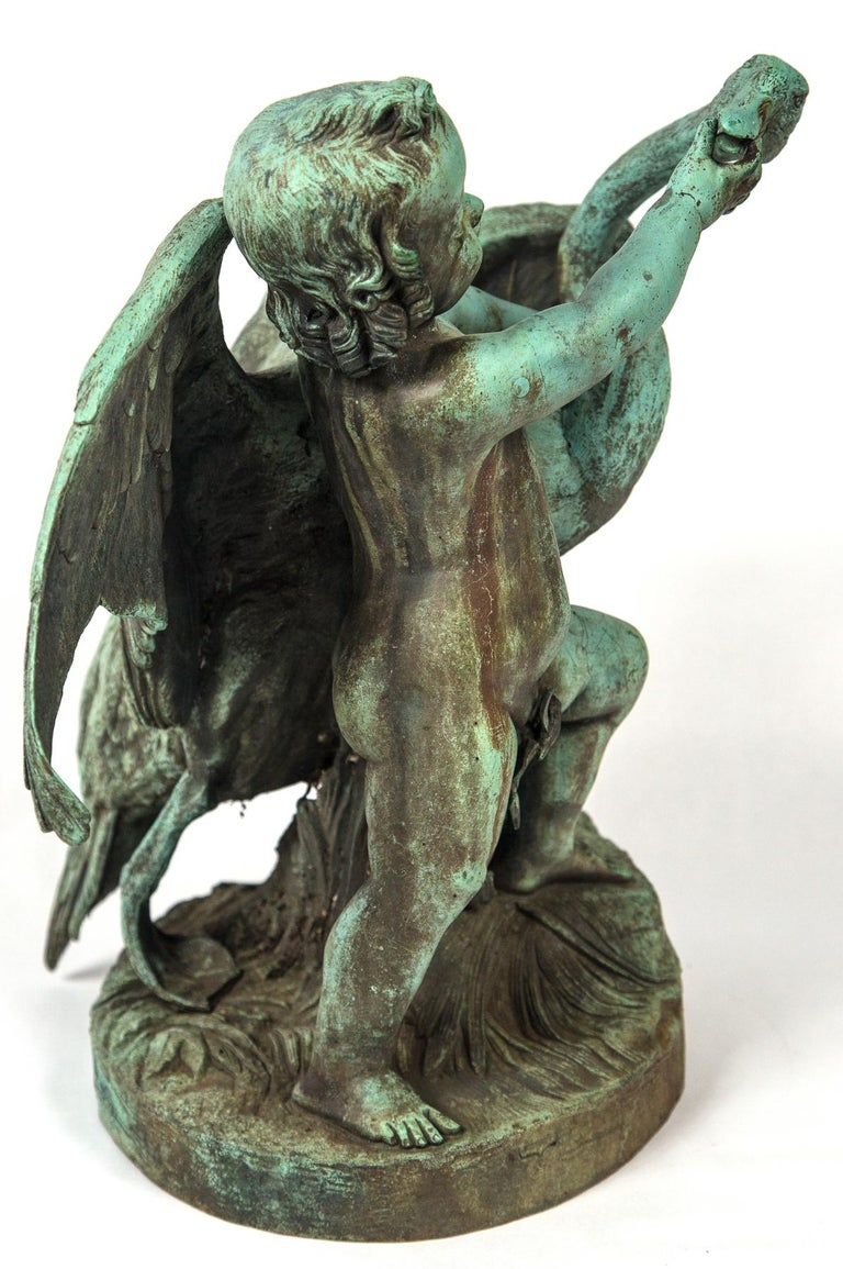 Bronze Putto  with a Swan Signed 5