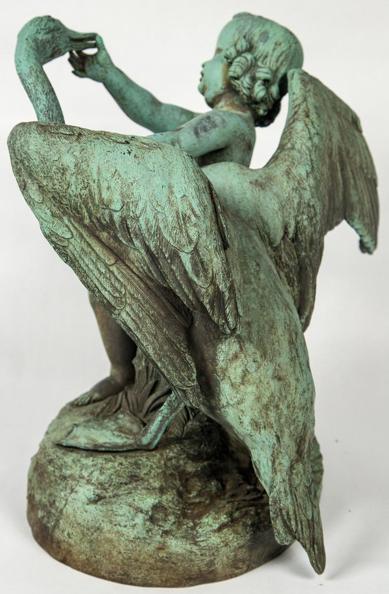Bronze Putto  with a Swan Signed 9