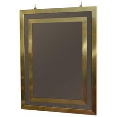 Bronze Rectangular 1970s Mirror with Double Brass Borders