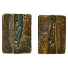 Bronze Rectangular Door Handles for Double Doors with Nature Relief Design