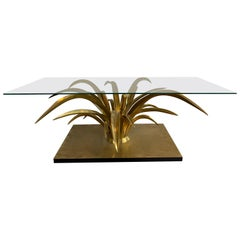 Bronze Reed Coffee Table by Christian Techoueyres. France, 1970s