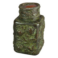 Bronze Repousse & Art Glass Tobacco Jar After Tiffany, 20th C