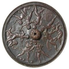 Bronze Repousse Cupid Bacchanal Ceiling Medallion Architectural Chandelier Mount