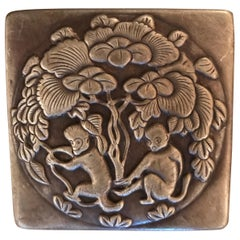 Bronze Repousse Ink Box with Prancing Monkeys
