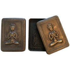 Bronze Repousse Ink Boxes with Seated Buddha