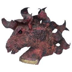 Bronze Ricardo Preciado Brutalist Painted Horse Bust Sculpture Vintage