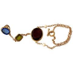 Bronze Ring Bracelet with Coloured Murano Glass Inserts by Patrizia Daliana