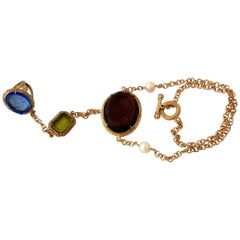 Bronze Ring Bracelet with Coloured Murano Glass Inserts by Patrizia Daliana