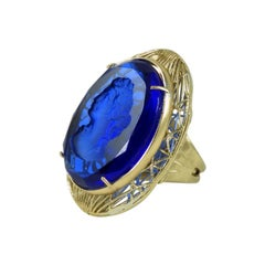 Bronze ring filigree work  with Hand-Carved Murano glass by Patrizia Daliana