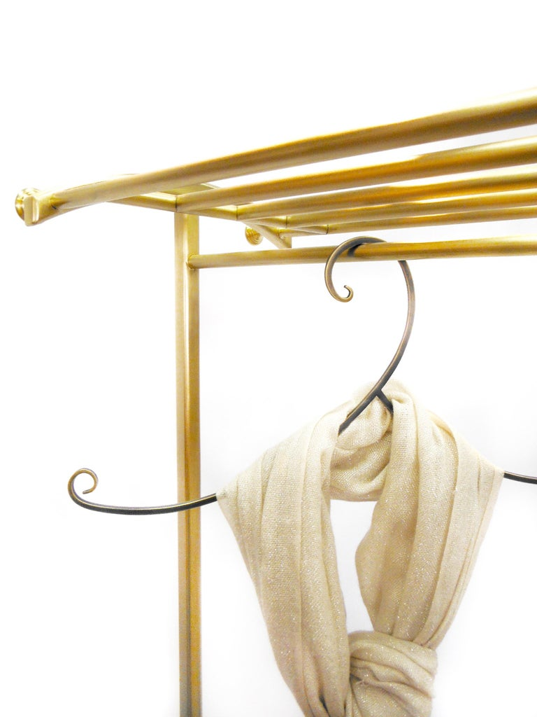 Luxury Bronze Rolling Clothing and Shoe Rack, in Stock (8) In New Condition For Sale In Chicago, IL