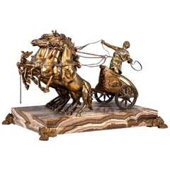 Bronze Roman Chariot Sculpture on Onyx Base