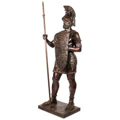 Bronze Roman Gladiator 'with Spear', Lifesize