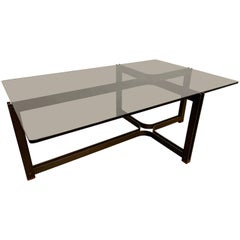Bronze, Rosewood and Smoked Glass Coffee Table by Tom Lopinski for Dunbar