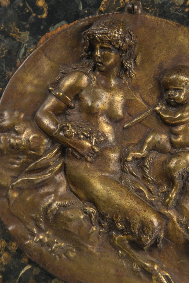 French Bronze Round Wall Plaque For Sale