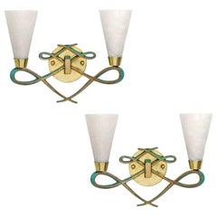Bronze Sconce with Alabaster Shades in a Jules Leleu Style, Pair