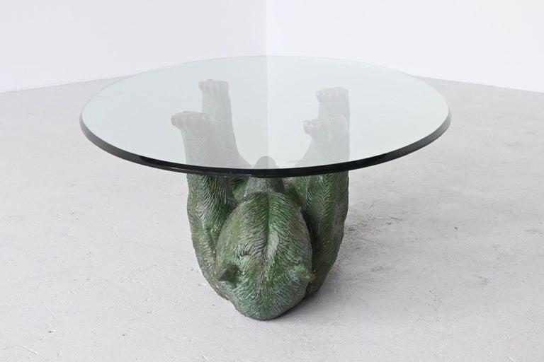 Late 20th Century Bronze Sculptural Bear Coffee Table Hollywood Regency, Belgium, 1970