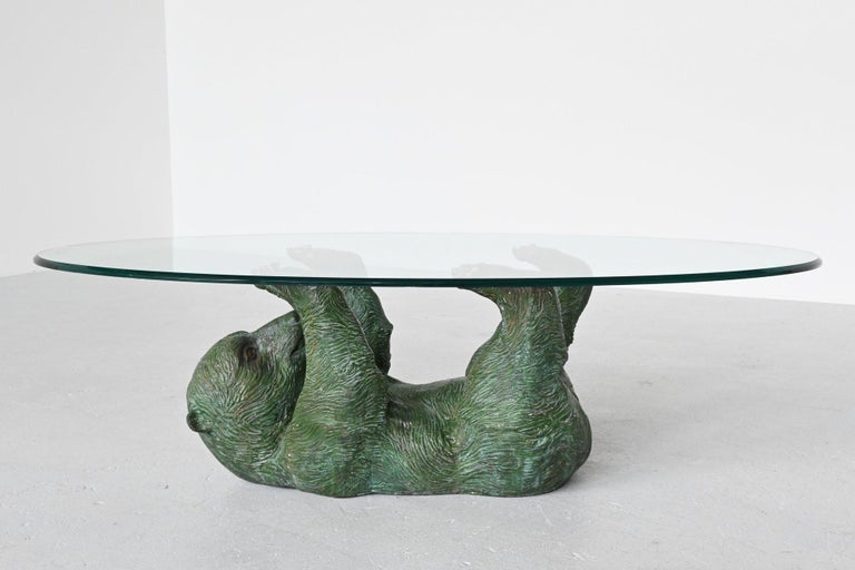 Bronze Sculptural Bear Coffee Table Hollywood Regency, Belgium, 1970 3