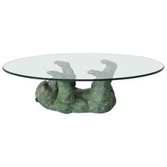 Bronze Sculptural Bear Coffee Table Hollywood Regency, Belgium, 1970