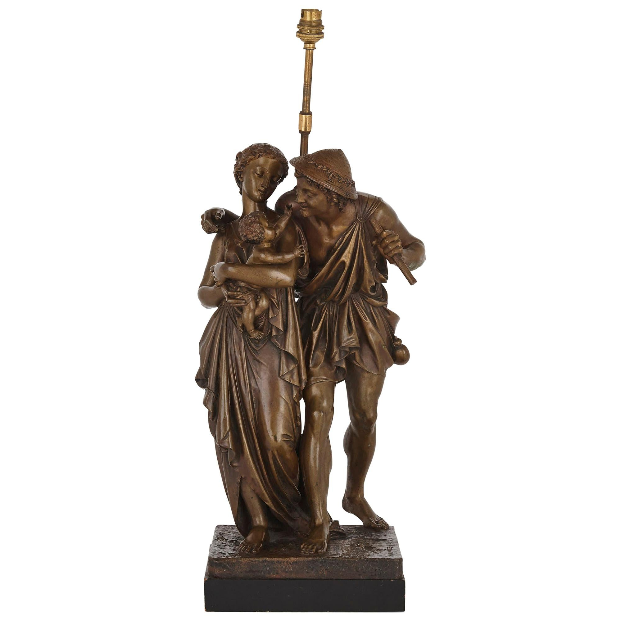 Bronze Sculptural Lamp by Henry Étienne Dumaige
