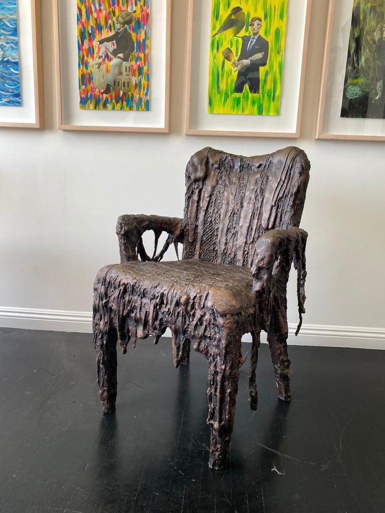 American Bronze Sculptural Panama Chair, 21st Century by Mattia Biagi For Sale