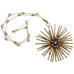 Bronze Sculptural Starburst Medallion and Blue Stone Necklace Vintage