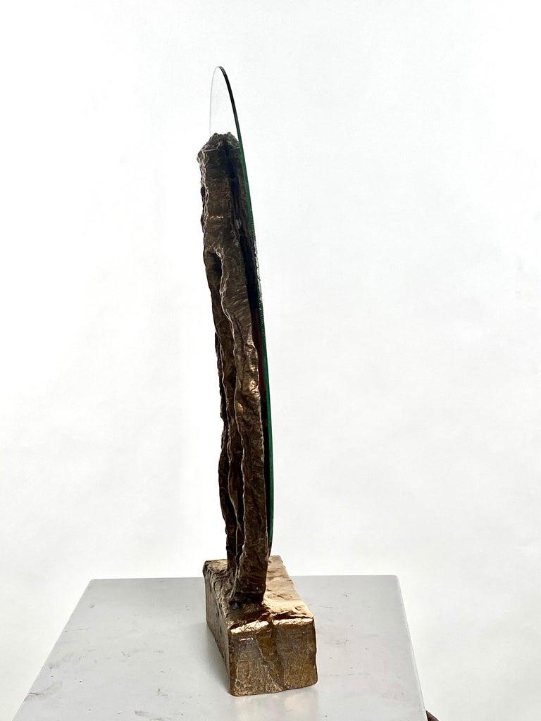 Contemporary Bronze Sculptural Vanity Mirror, 21st Century by Mattia Biagi For Sale