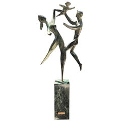 Bronze Sculpture 20th Century Spirit of Life After Robert Russin on Marble Base