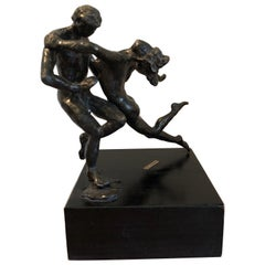 Bronze Sculpture Art Deco Nude Male and Female Ballet Dancers, Degas Style