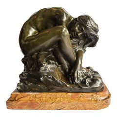 "Bronze Sculpture, ""Baigneuse"", Signed A. Gory, Paris, circa 1920"